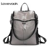 LOVEVOOK marca mujeres mochila mochilas escolares para adolescentes de oxford del bolso de hombro de cuero genuino de gran capacidad bolsas de viaje