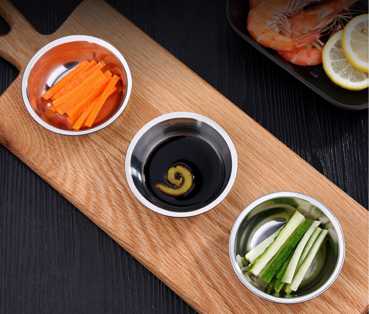Barbecue Round Single Grid Sauce Sauce Dish 304 Stainless Steel Soy Sauce Vinegar Dish Small Dish 3 Pieces per Lot