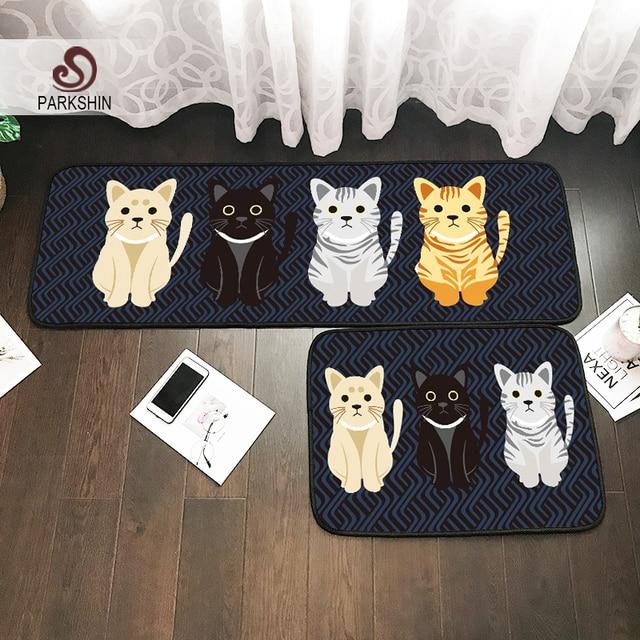 Parkshin Gentelmen Cat Home Bathroom Rug Washable Kitchen Mat