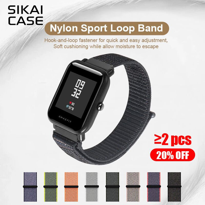 SIKAI Original 20mm Universal Nylon Bracelet For Huami Aamazfit Youth Smartwatch Band For Amazfit Bip Bit Youth Edition Straps умные часы huami amazfit bip youth edition оранжевый