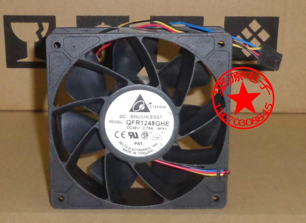 Delta QFR1248GHE 9F81 DC 48V 0.75A 120x120x38mm Server Square Fan 4-wire delta ffb1248ehe f00 dc 48v 0 75a 2 wire 2 pin connector 120x120x38mm server square fan