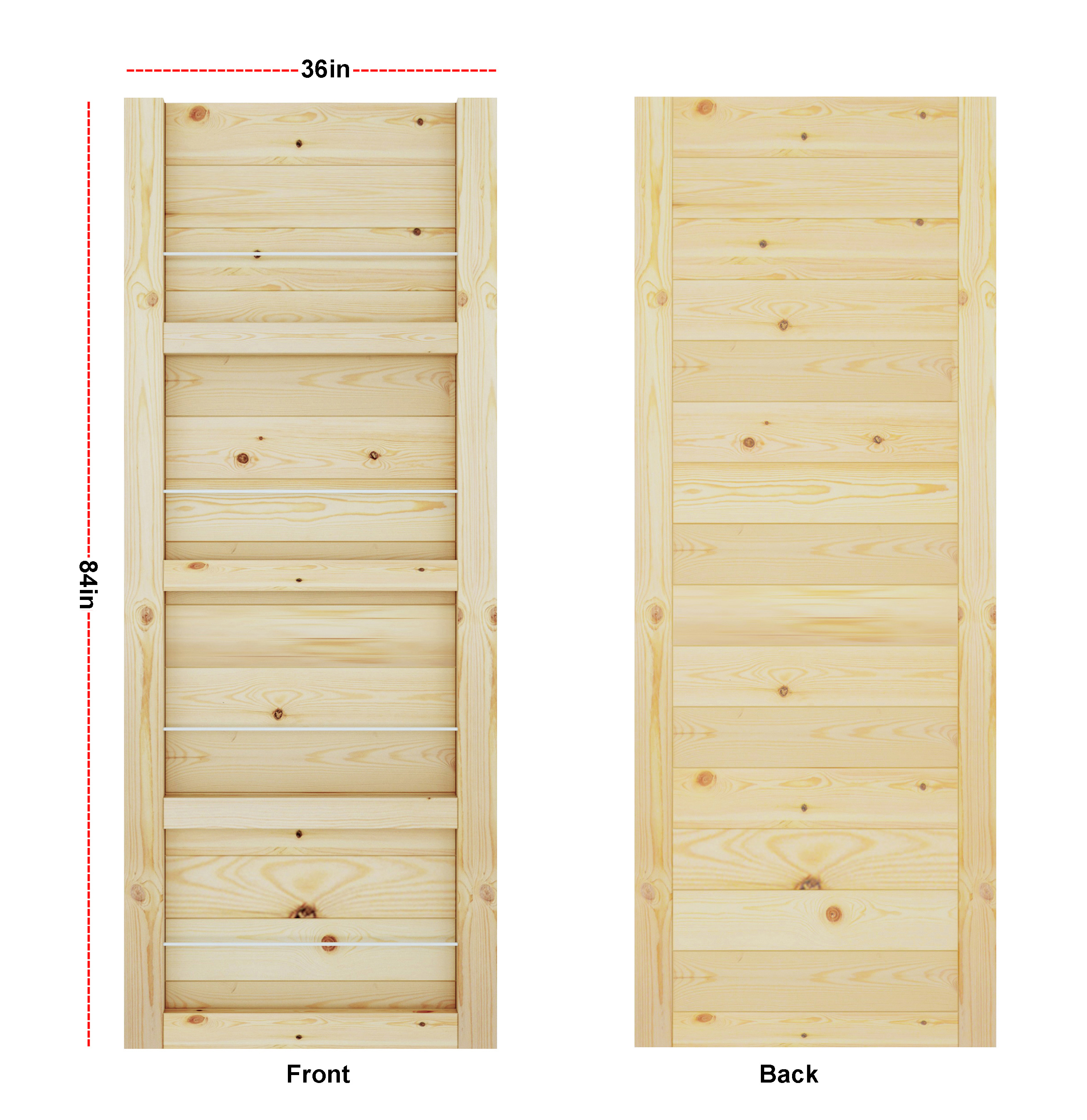 DIYHD Barn Door Slab Knotty Pine Wood Door Panel Loft Style 2 3/4