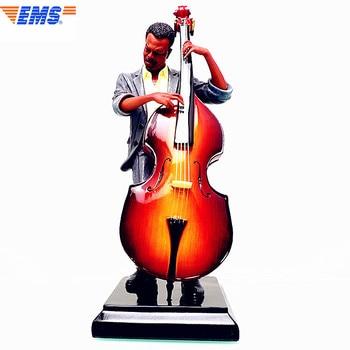 31.5cm Double Bass Sculpt Bust Famous Music Figure Statue Colophony Crafts Home Decoration Jazz Musician Souvenir L2731