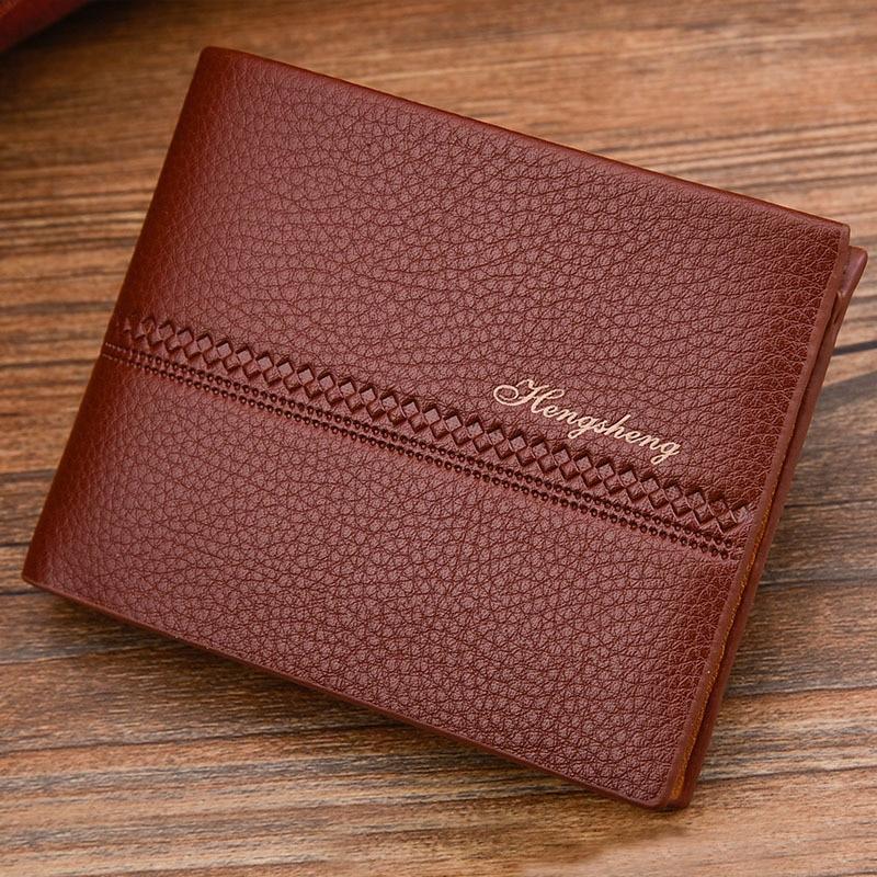 HENGSHENG Brand Vintage Male Stop RFID Short Leather Wallet Purse with Card Holder for Men