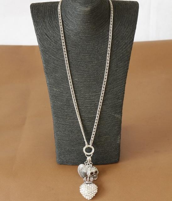 2014 vintage silver pendant necklace heart skull rhinestone long 2014 vintage silver pendant necklace heart skull rhinestone long necklace for women new design fashion high aloadofball Choice Image