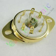 И розничная 20 шт. золото 8pin керамическая ламповая панель loctal клапан база fr 5B254 Аудио amp DIY