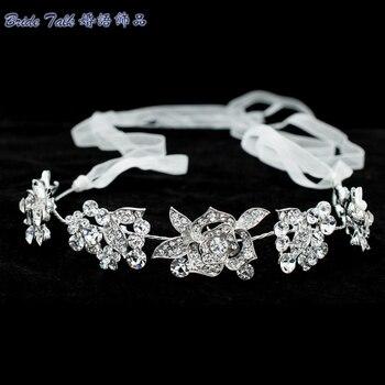 New Rose Flower Head band Chain Ribbon Rhinestone Crystals Hair Band Women Hair Jewelry Bridal Wedding Headpiece GX003