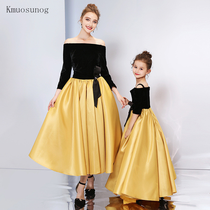 6dff68bb49c68 Mother daughter Children dress clothing mom and kids Full dress family  matching outfits Baby Girls clothes party dress C0245