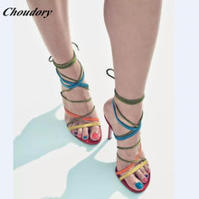 Choudory Fashion Handmade Colorful Strip Thin High Heel Sandals Women Genuine Leather Summer Women Shoes Party Wedding Shoes