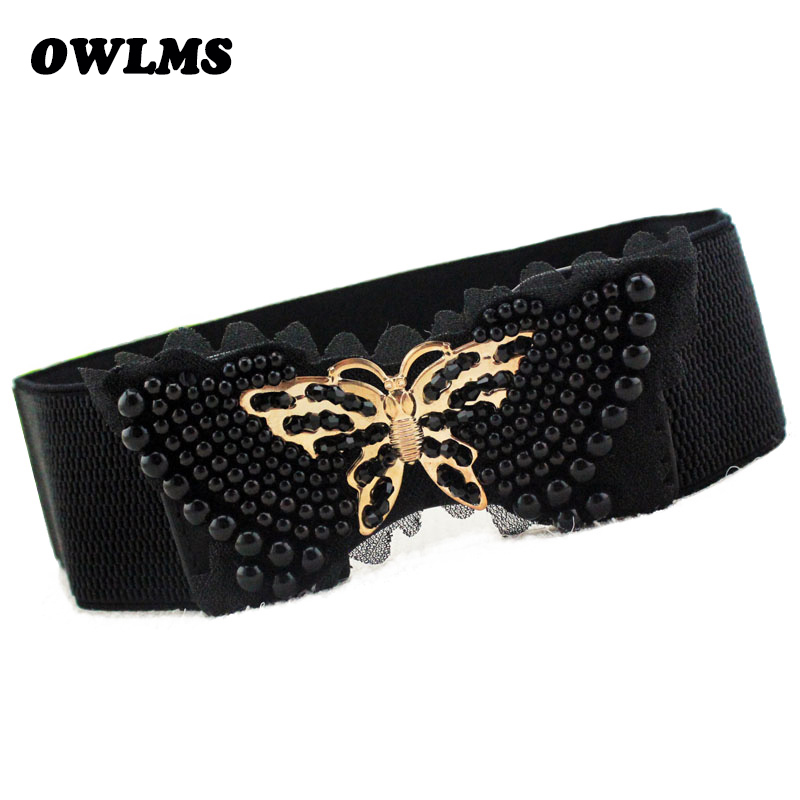 Free Shipping New Fashion Popular Belts Lace Decoration Bow Women Gold Pearl Butterfly Wide Crystal Cummerbund Waist Belt Female