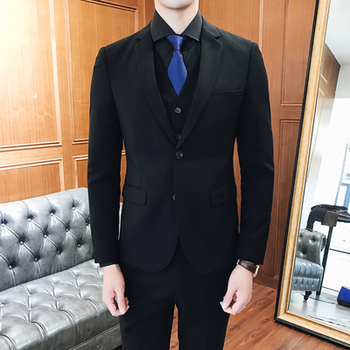 Mens Suit Designers 2018 Slim Fit Formal Wedding Dress 3-Piece Set Prom Suits Two Buttons Classic Black Navy Tuxedo