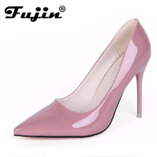 Laci red bottom High Heels zapatos mujer tacon 10cm Heels 2016 New Spring Women's Shoes nude pointed pumps wedding dress shoes