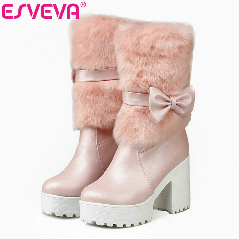 ESVEVA Lovely Bow Tie Mid Calf Miss Fashion Boots Round Toe Square High Heels Platform Winter Women Shoes Size 33-42 Pink double buckle cross straps mid calf boots