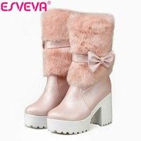 ESVEVA Mooie Vlinderdas Mid Kalf Miss Mode Laarzen Ronde teen Vierkante Hoge Hakken Platform Vrouwen Winter Schoenen Maat 33-42 roze
