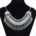 Collares Za Women 2017 Vintage Silver Maxi Necklace Metal Coin Tassel Bib Statement Necklace Jewelry Colar Feminine N1100