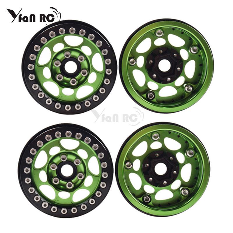 Yfan 4PCS Metal 1.9 Beadlock Wheel Rims For 1/10 Scale Rc Crawler  TRX-4 Axial Scx10 II D90 Tamiya CC01 D110(Green+Black)