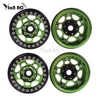 Yfan 4PCS Metal 1.9 Beadlock Wheel Rims for 1/10 Scale Rc Crawler TRX 4 Axial Scx10 II D90 Tamiya CC01 D110(Green+Black)
