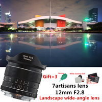 7 ремесленников 12 мм f2.8 ультра Широкий формат объектив для Canon EOSM Fuji FX M43 E mount APS C беззеркальных камер A6500 A6300 XT2 объектива