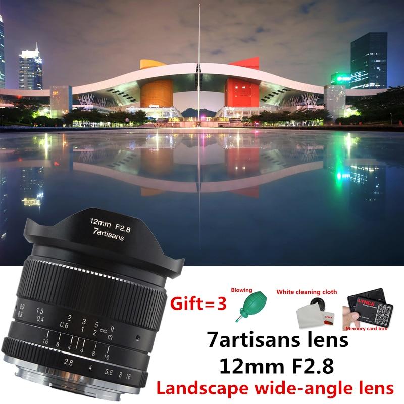 7 artisans 12mm f2.8 Ultra Grand Angle Objectif pour Canon EOSM Fuji FX M43 E-montage APS-C Mirrorless caméras A6500 A6300 XT2 Lentille
