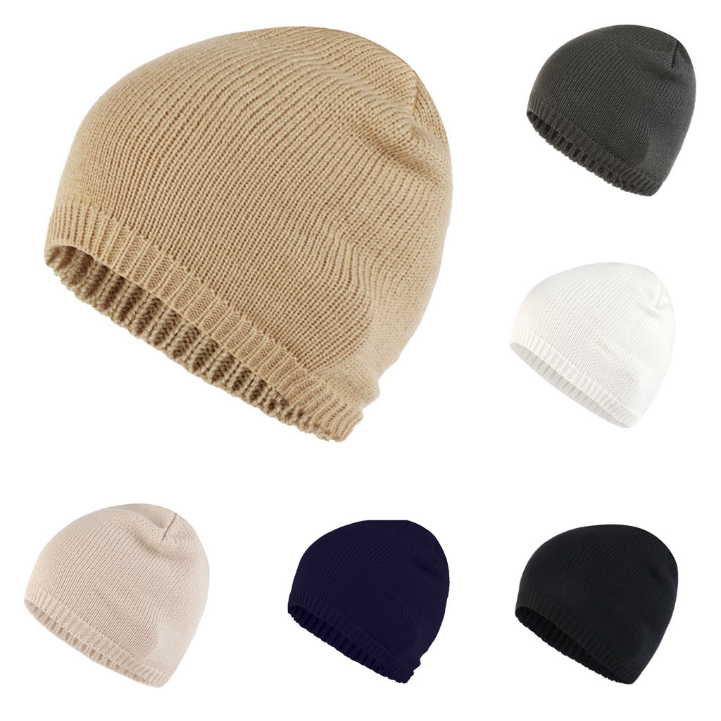 8f6aab5f04d Best Sale Women Unisex Casual Knitting Wool Cap Hemming Hat Solid Beanies  Winter Gorros for Female