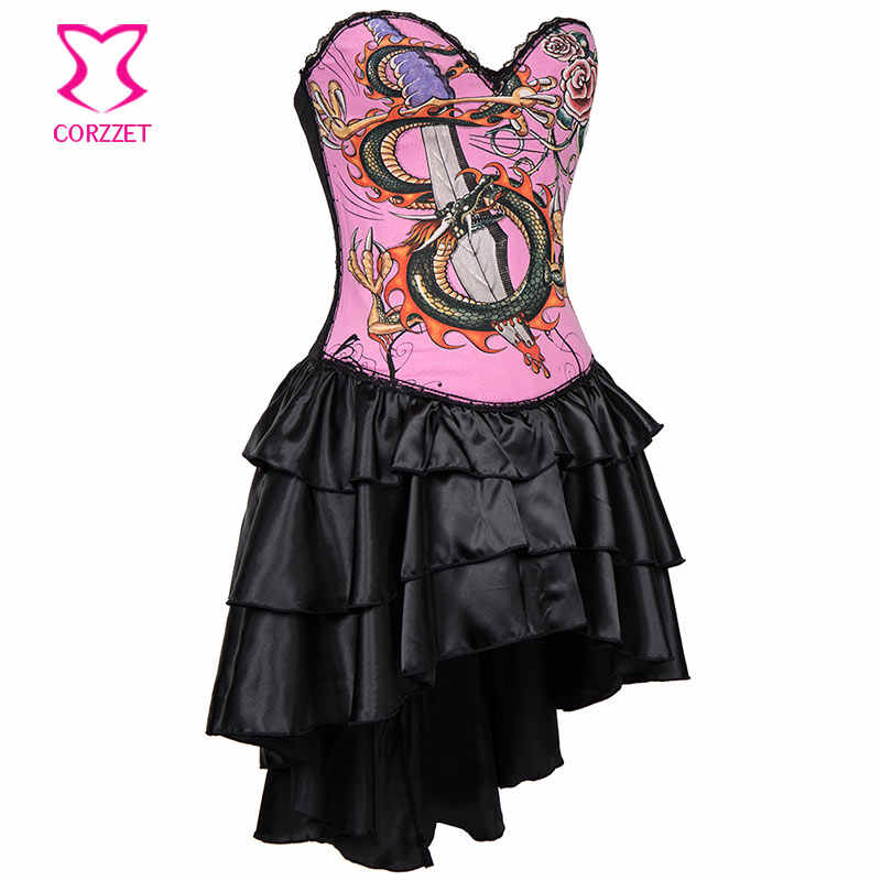 ... Black Pink Cotton Dragon Print Sexy Bustier Dress Corset Steampunk Dresses  Vintage Gothic Clothing Burlesque ... 9785db833b60