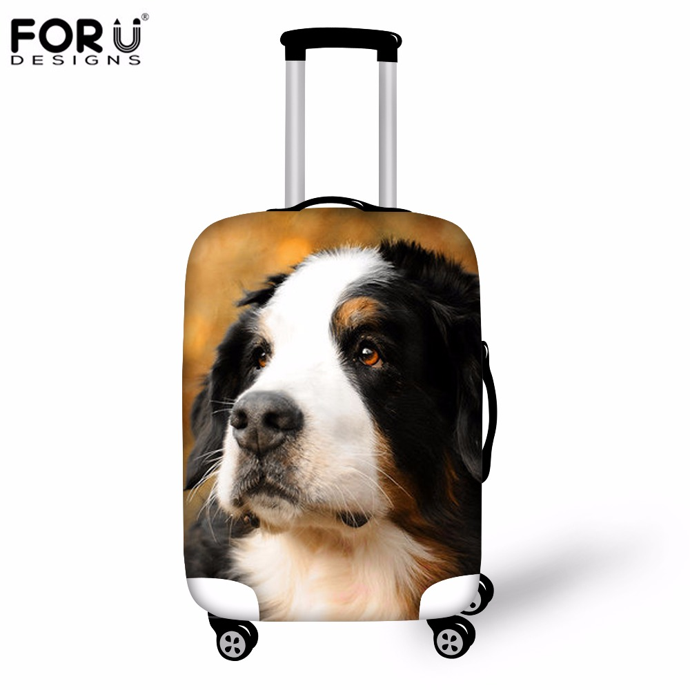 FORUDESIGNS Travel Accessories Luggage Protective Cover Waterproof Elastic 3D Bernese Suitcase Cover For 18-30 Inch Trolley Case