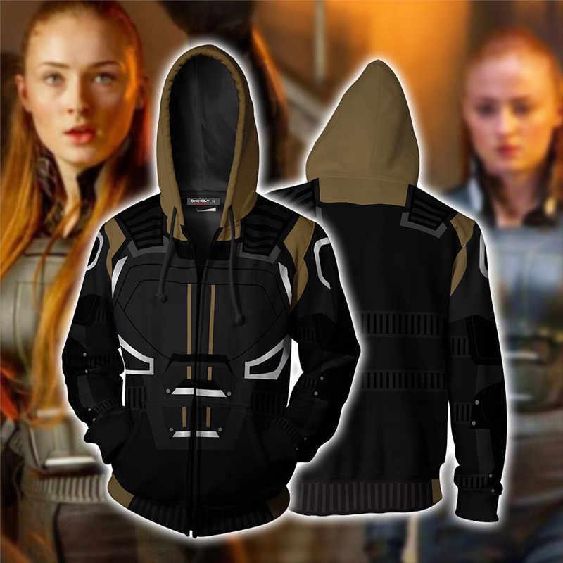 2019 X-メン: ダークフェニックス服パーカー女の子のため女性 3D プリントコートストリートヒップホップのクールなジッパージャケットトップス