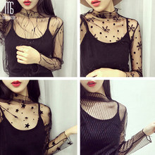 Summer see-through little vertical collar long sleeve lace top Star Polka Dot Top Sexy Mesh Loose Two Set T-Shirts Transparent(China)