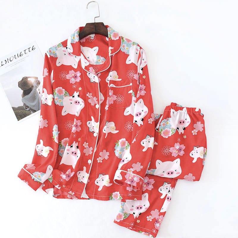 Image 5 - Fresh sweet pig rayon summer pajamas sets women cozy casual cute cartoon sleepwear long sleeve quality pyjamas women homewear-in Pajama Sets from Underwear & Sleepwears