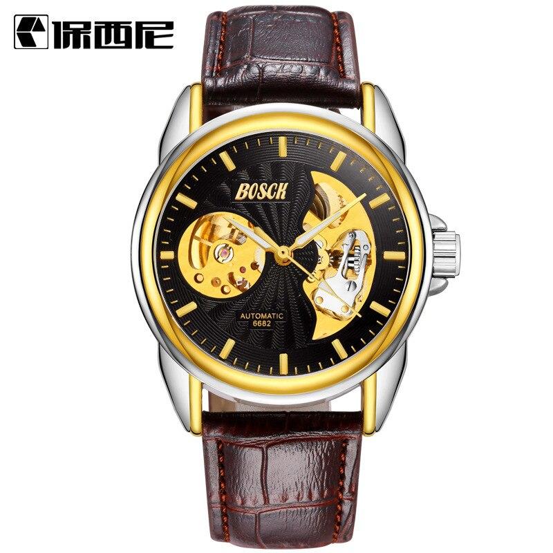 2018 Favourite Waterproof Automatic Mechanical Watch Sun Moon Hollow Mens Wrist Watches Luminous Pointer Men Wristwatches Men