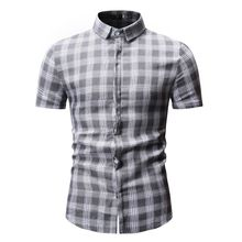 New Autumn Fashion Brand Men Clothes Slim Fit Short Sleeve Shirt Plaid Cotton Casual Social Plus Size M-3XL