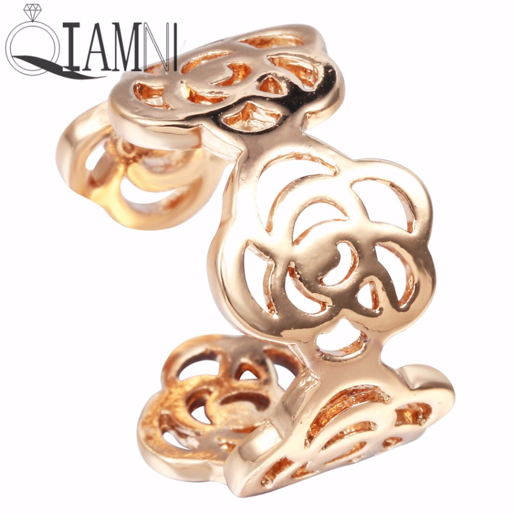 QIAMNI Cute Beautiful Hollow Flower Rings Unique Adjustable Ring Gift for Women Girls Wedding jewelry