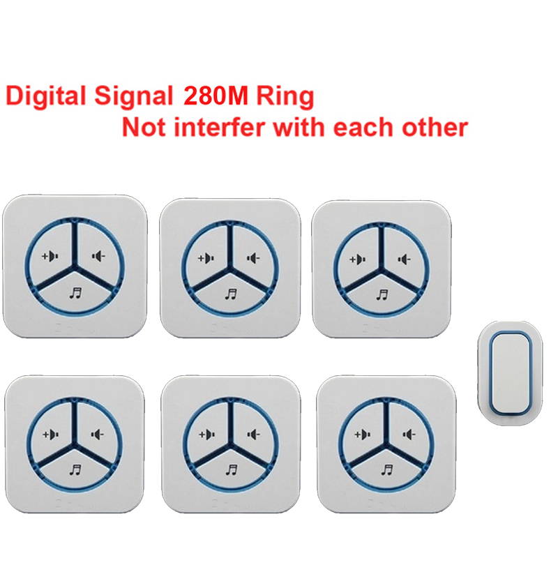 1 emitter+6 receivers doorbell Waterproof 280m work wireless doorbell,wireless door chime,wireless bell, 48 melodies door bell