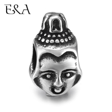 Stainless Steel European Beads Double Faced Buddha Charms Hole 5mm for Jewelry Making Supplies Bracelet Spacer Eur Bead fenlu fl 083 double faced buddha head shaped bracelet silver