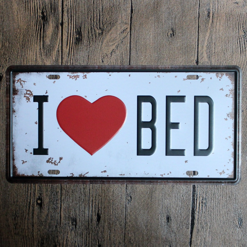 ღ Ƹ̵̡Ӝ̵̨̄Ʒ ღ15*30 cm amo cama estaño metal Marcos de matrícula ...
