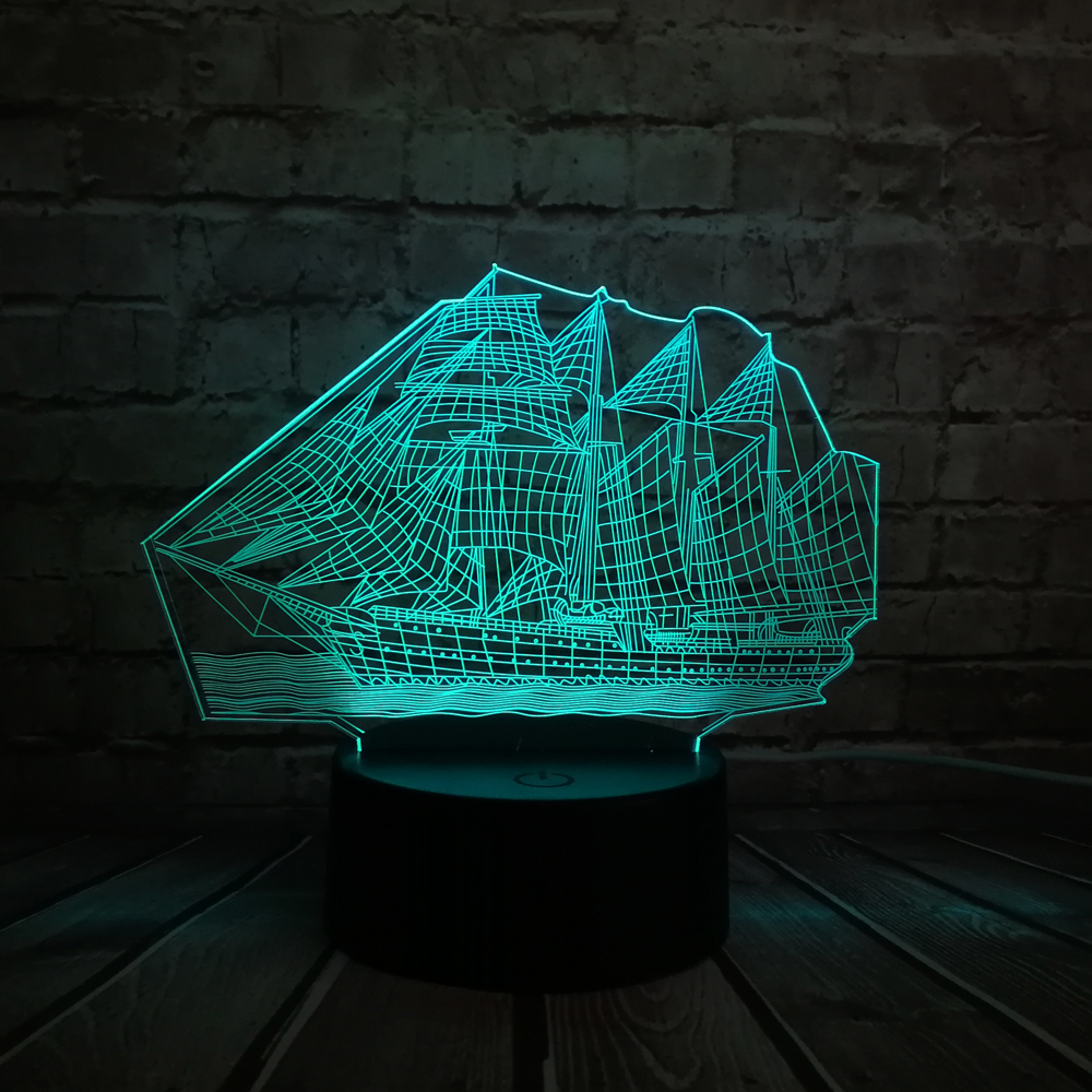 2018 3D Retro Ancient Sailing Sea Boat Ship LED Lamp Chinese Style Multicolor Illusion RBG Night Light USB Table Desk Decor