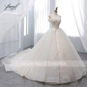 Image 2 - Fmogl Vestido דה Noiva סירת צוואר כדור שמלת חתונת שמלות 2019 סקסי ללא משענת חרוזים קפלת רכבת תחרה בציר כלה שמלה