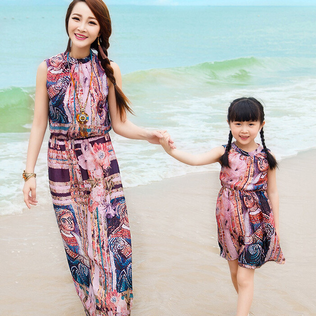 Семья взгляд! соответствия мать и дочь платья чешские пляж макси платье шаблон характер новое семейство одежда Большой размер