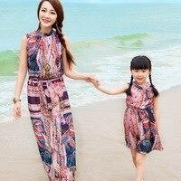 Aile Bak! eşleştirme Anne Ve Kızı Elbiseler Bohemian Plaj Maxi Elbise Karakter Desen Yeni Aile Giyim Artı Boyutu