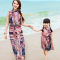 Family Look! Matching Mother And Daughter Dresses Bohemian Beach Maxi Dress Character Pattern New Family Clothing Plus Size