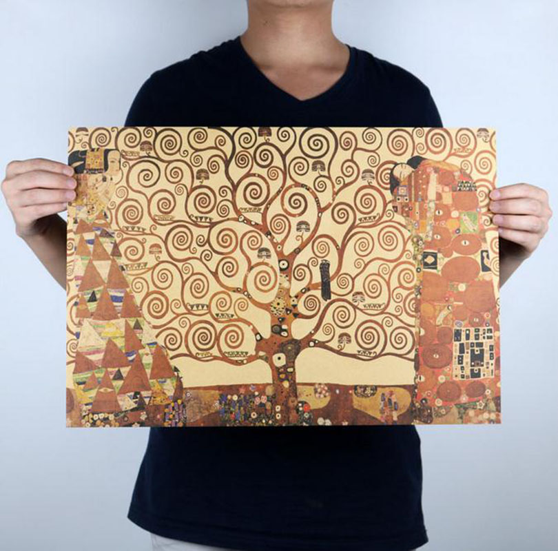 The Tree of Life Klimt Paintings Vintage Oil Painting Posters Kraft Paper Decorative Paintings Wall Stickers Free Shipping