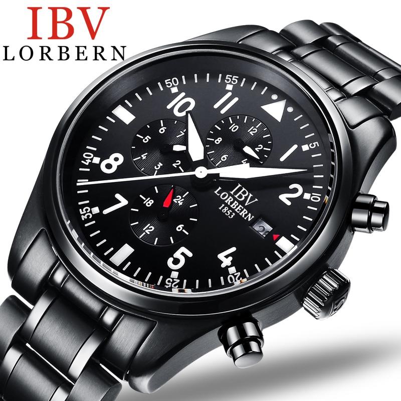 Luxury IBV watch men Sapphire crystal mechanical Waterproof luminous Military date silver Watch Relogio masculino watch crystal