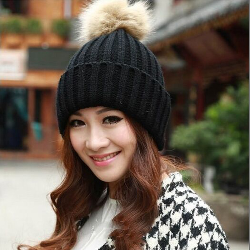 Brand 2016 Women Spring Winter Hats Beanies Knitted Cap Crochet Hat Rabbit Fur Pompons Ear Protect Casual Cap Chapeu Feminino