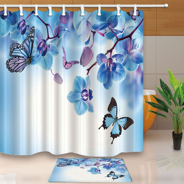 Warm Tour Turquoise Butterfly Polyester Fabric Bathroom Shower Curtain Set With Hooks WTS056
