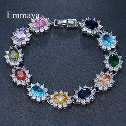 Emmaya Hot Bracelet & Bangle for Women Prong Setting 10 Colors Zircon Chain Bracelet Jewelry Gift for Female