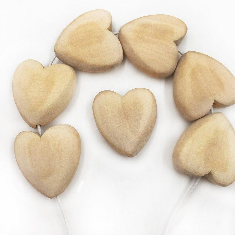 Prix pour 21x20mm 100 pcs Sécurité Et Protection de L'environnement En Bois Naturel Coeur Perles Unfinished Bébé Anneau De Dentition JOUET En Bois Dentition pour le BRICOLAGE