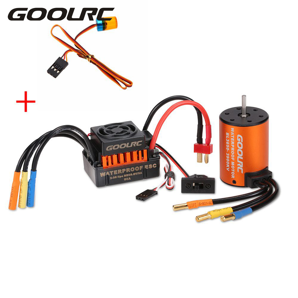 GoolRC RC Cars Model Vehicle Part Brushless Motor 3650 3900KV with 60A ESC & LED Lamp Light Combo Set for 1:10 RC Car Truck surpass hobby upgrade waterproof 3650 3900kv rc brushless motor with 60a esc combo set for 1 10 rc car truck motor kit