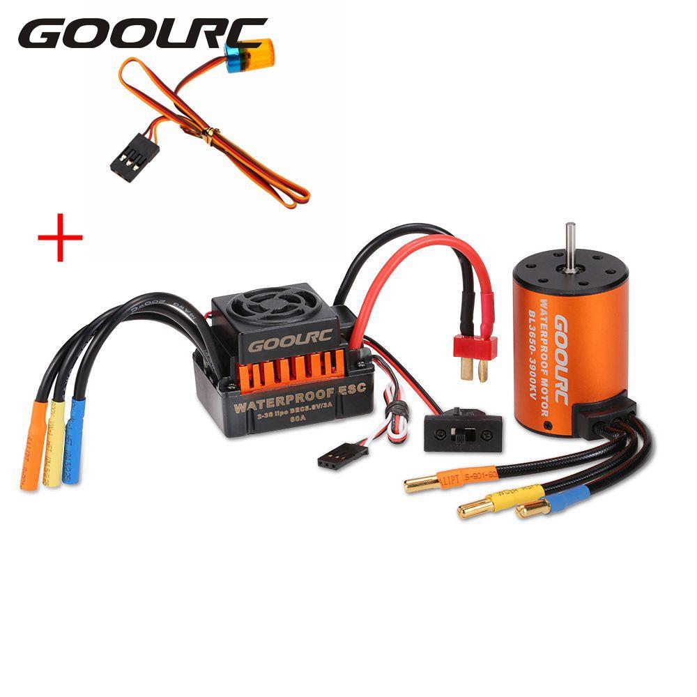 GoolRC RC Cars Model Vehicle Part Brushless Motor 3650 3900KV with 60A ESC & LED Lamp Light Combo Set for 1:10 RC Car Truck