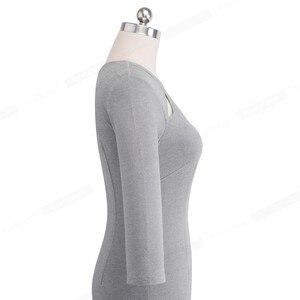 Image 3 - Nice forever vintage cor pura oco em torno do pescoço vestidos festa de negócios bodycon elegante escritório trabalho vestido feminino b488