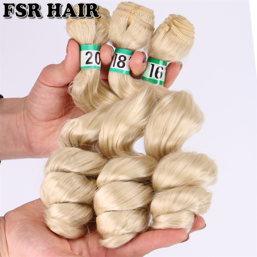 FSR 16 18 20 Inch 3 pcs/lot loose wave hair Weaving 613# double weft Synthetic hair ExtensionsSynthetic Weave   -